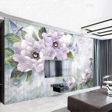 Youe Shone 2020 Noble Gorgeous Purple European Wallpaper 3d Flower TV Backdrop Custom Photo Wallpaper Large Mural Wall Stickers