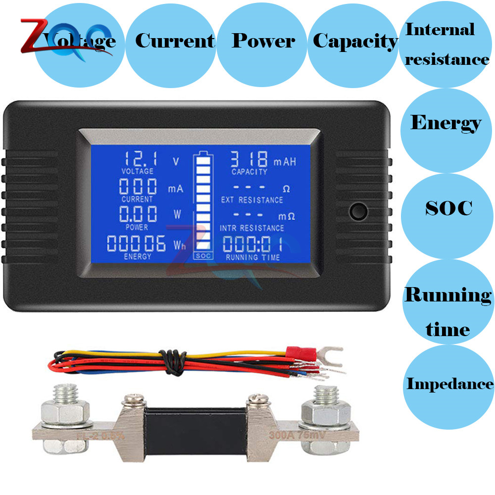 DC 0-200V 0-300A Digital Voltmeter Ammeter Car Battery Tester Capacity Resistance Voltage Current Power Energy Meter Monitor