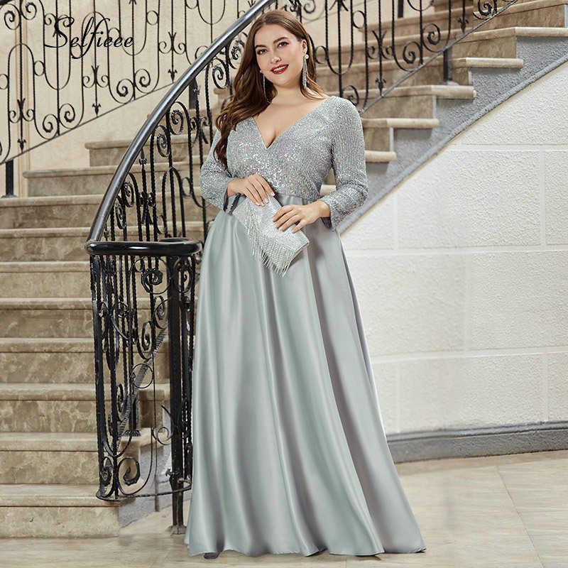 Moda Vestido Para Mujer En Tallas Grandes Con Lentejuelas Cuello Pico Profundo Manga Larga Elegante Azul Marino Mancha Maxi Vestido De Fiesta 2020 Vestidos Aliexpress