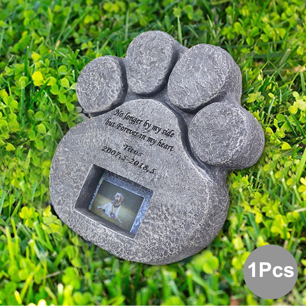 Memorial Tombstone For Pet Keepsake Gravestone Tomb Dog Cat Paw Print Animal Funeral Footprint Shaped Can Put Photos