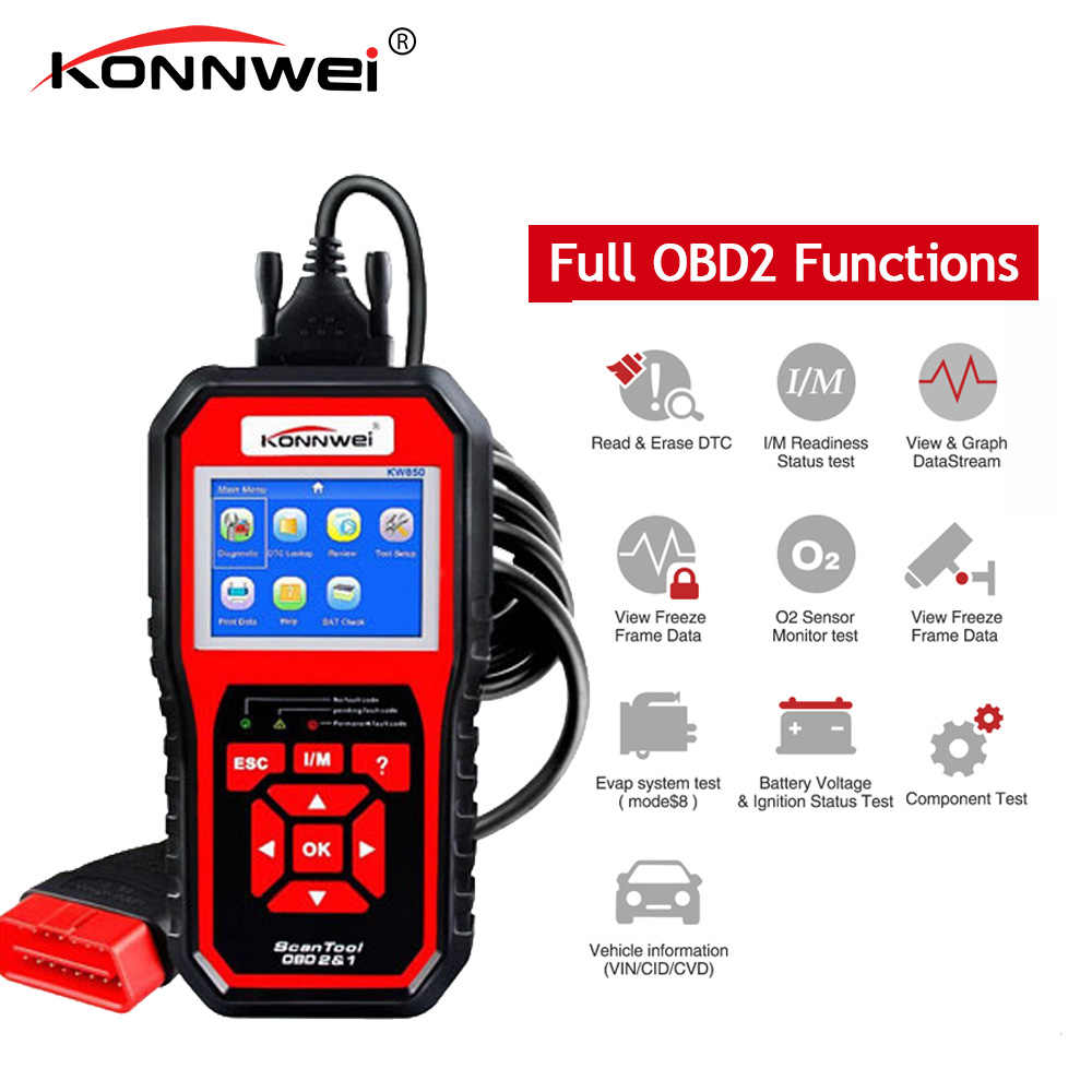 KONNWEI KW850 フル OBD2 車の診断ツール KW 850 Obdii 自動スキャナー PK AD410 NT301 更新無料 pc RU/英国/BR 倉庫