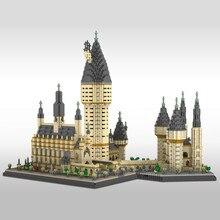 7750 pçs potter filme escola mágica castelo modelo blocos diy pequena partícula bloco de construção brinquedos educativos presente aniversário natal