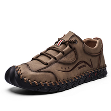 Leather Shoes Men Outdoor Walking Lace-up Flats Casual Comfortable leisure handmade sewing Footwear High Quality