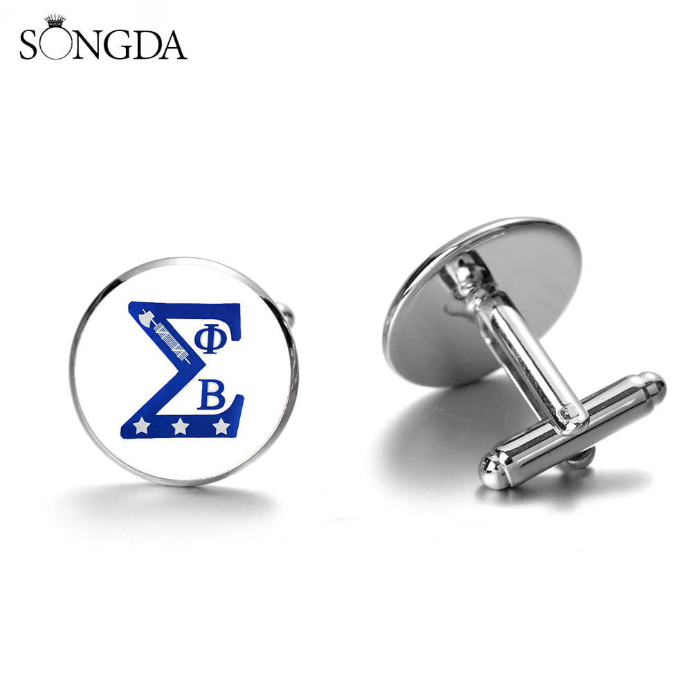 SONGDA Phi Beta Sigma 1914 Fraternity Cufflinks Greek Association Symbol Glass Dome Silver Bronze Plated Cuff Button Mens Gift