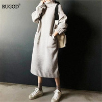 RUGOD New Autumn Winter Turtleneck Sweater dress With Pockets Women Fashion Korean Style Thick Knitted Dress Warm Vestidos 2019