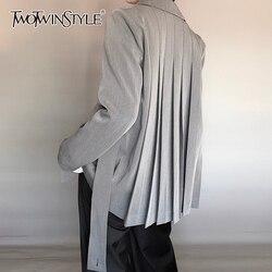 TWOTWINSTYLE Повседневный Асимметричный Женский блейзер с зубчатым воротником и длинным рукавом, свободный женский костюм на шнуровке с рюшами ...
