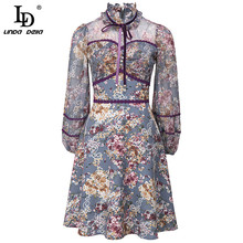 LD LINDA DELLA Fashion Runway Autumn Dress Women Bow tie Lace Patchwork stampa floreale Ladies elegante Mini abito Vintage abiti