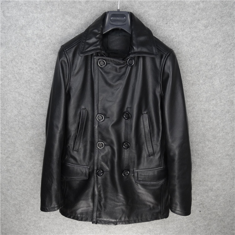 Free Shipping.Brand New Man Thicker Long Casual Jackets,men's Genuine Leather Classic Style Jacket.Windbreaker Sales