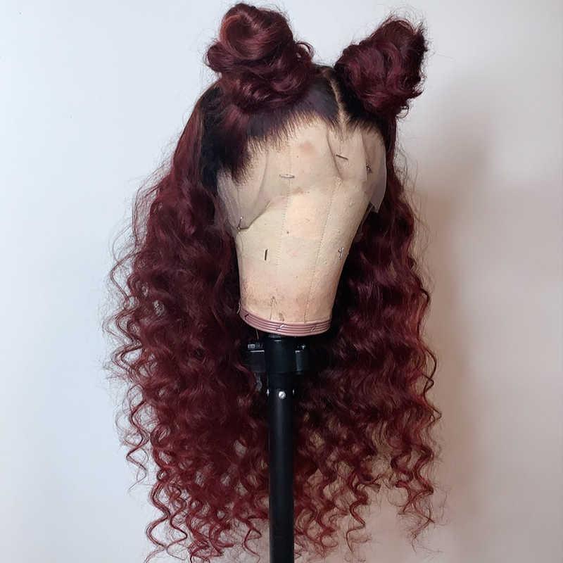 Ombre kolorowe koronki przodu włosów ludzkich peruk czerwony 99j Burgundy jednorazowe kręcone koronki przodu peruki dla czarnych kobiet Remy