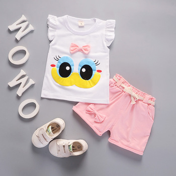 cute baby summer clothing set 2019 new cotton short sleeved striped shirts shorts toddler baby clothes kids outfits sy f192210 Baby Girl Clothes Summer Cute Big Eye Short Sleeved T-shirts + Shorts Infant Clothing Christmas Outfits Kids Bebes Jogging Suits