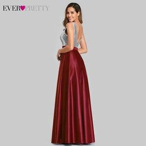 Image 2 - Сексуальное атласное платье для выпускного вечера Ever Pretty EZ07638 ТРАПЕЦИЕВИДНОЕ ПЛАТЬЕ С глубоким v образным вырезом и блестками без рукавов, блестящие вечерние платья Vestido De Gala