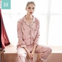 Ladies Cotton Flamingo Print Autumn&Winter Pajamas Nieghtdress Sleepwear Womens Home service Suits Women Long johns set