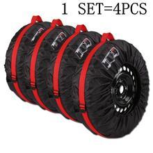 4 шт., Автомобильные Защитные чехлы для запасных колес, черные и красные сумки для хранения, сумка для переноски, чехол для автомобиля, защита колеса для внедорожника