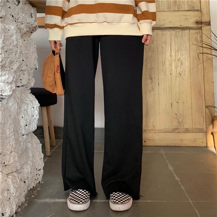 H71434df5b05343c2bb99276397103b67d - Autumn / Winter High Waist Elastic Broadcloth Straight Solid Pants