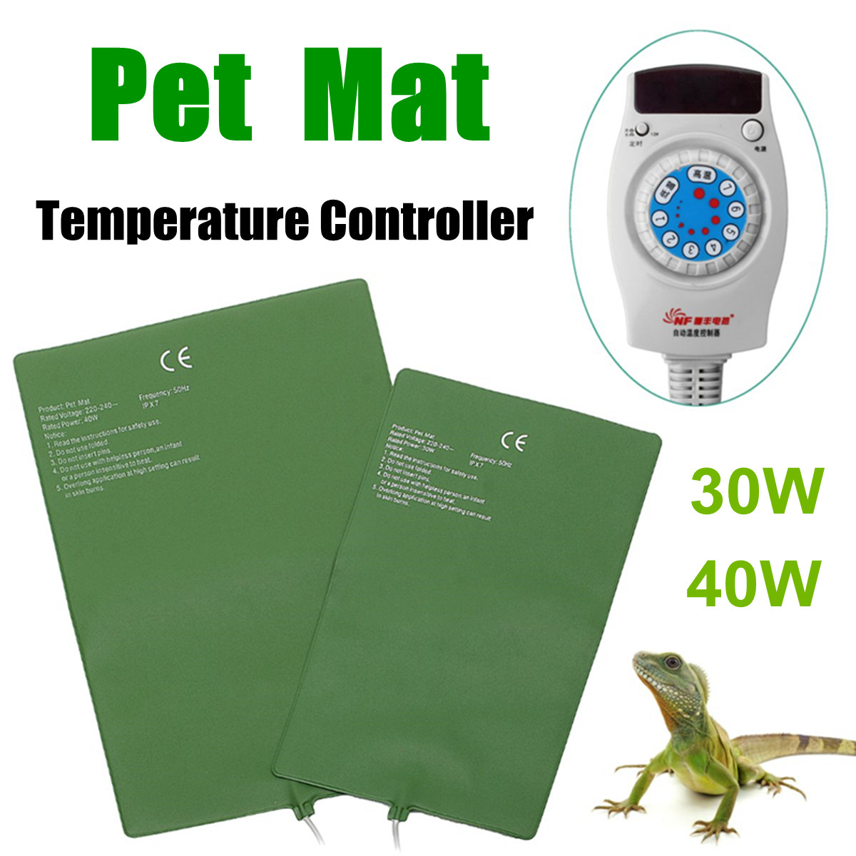 30/40W Aquarium Reptiles Heat Mat Pet Turtle Snakes Heating Warm Pad Green Terrarium Automatic Temp Controller Reptiles Supplies