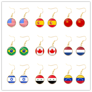 Soviet Union,Brazil,Canada,Netherlands,Israel,Syria,Venezuela,United States,Spain National Flag Glass Cabochon Drop Earrings(China)