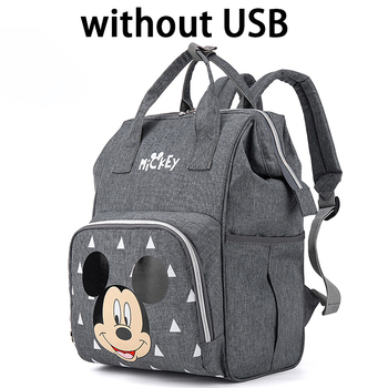 Disney Diaper Bag Backpack For Moms Baby Bag Maternity For Baby Care Nappy Bag Travel Stroller USB Heating Send Free 1Piar Hooks - without USB