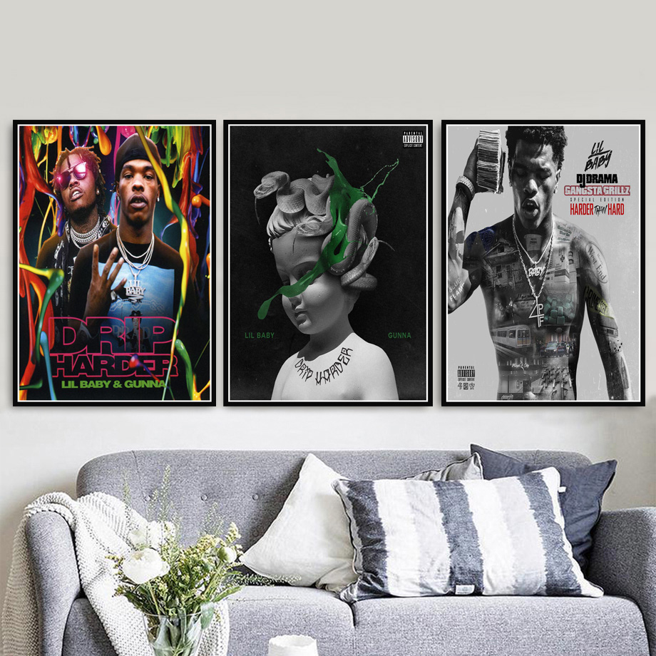 Poster Prints Lil Baby & Gunna Drip Hip Hop Rap Music Singer Star Album Painting Art Wall Pictures For Living Room Home Decor image