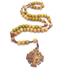 Jesus Wooden Prayer Beads 10mm Rosary Cross Necklace Pendant Woven Rope Chain Church Supplies Jewelry Accessories