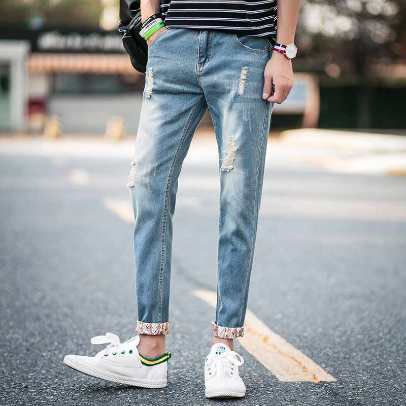 Autumn Fashion New Style Casual MAN'S Ninth Pants Korean-style Cool Slim Fit Versatile With Holes Jeans Men's