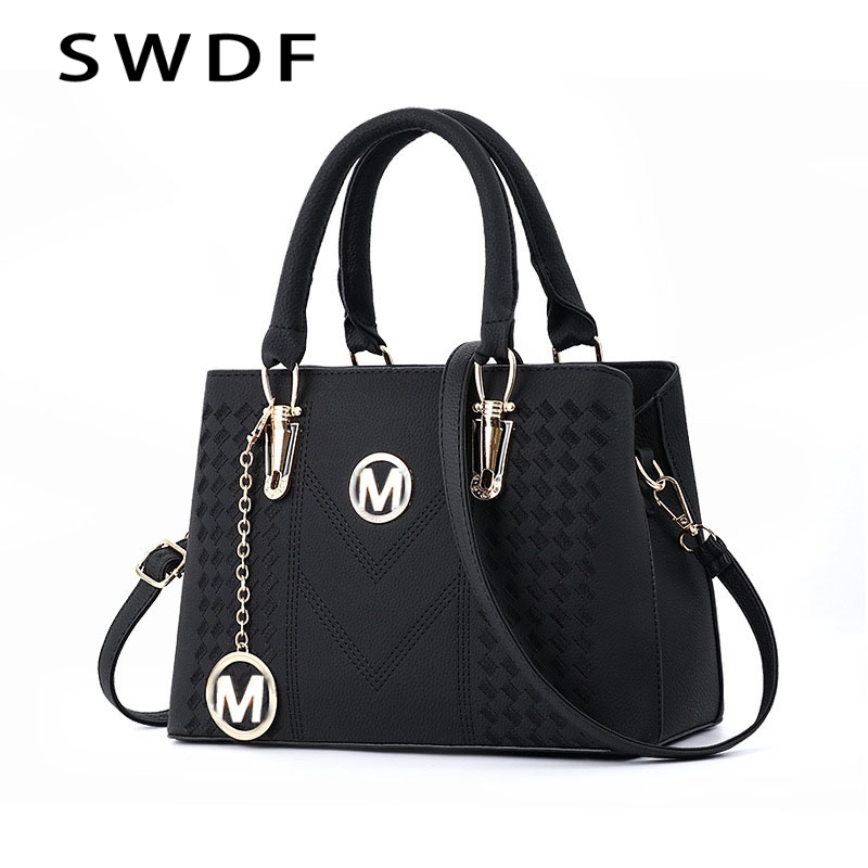 SWDF Pure Color Designer Shoulder Bag In Women's Shoulder Bags Messenger Bags Ladies PU Leather Handbag Purse Female Crossbody