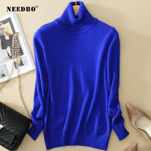 Turtleneck Sweater Women Knit High Elastic Solid Oversize Pullover Ladies Long Sleevee Pull Femme