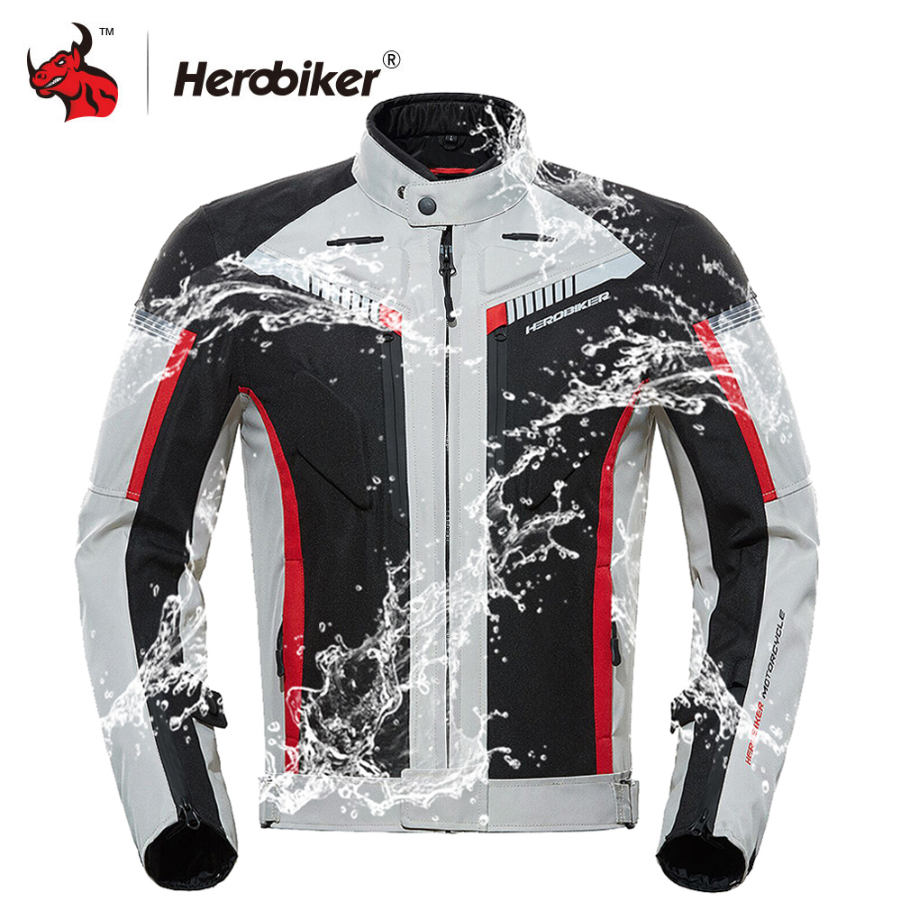 HEROBIKER Autumn Winter Motorcycle Jacket Men Waterproof Windproof Moto Jacket Riding Racing Motorbike Clothing Protective Gear