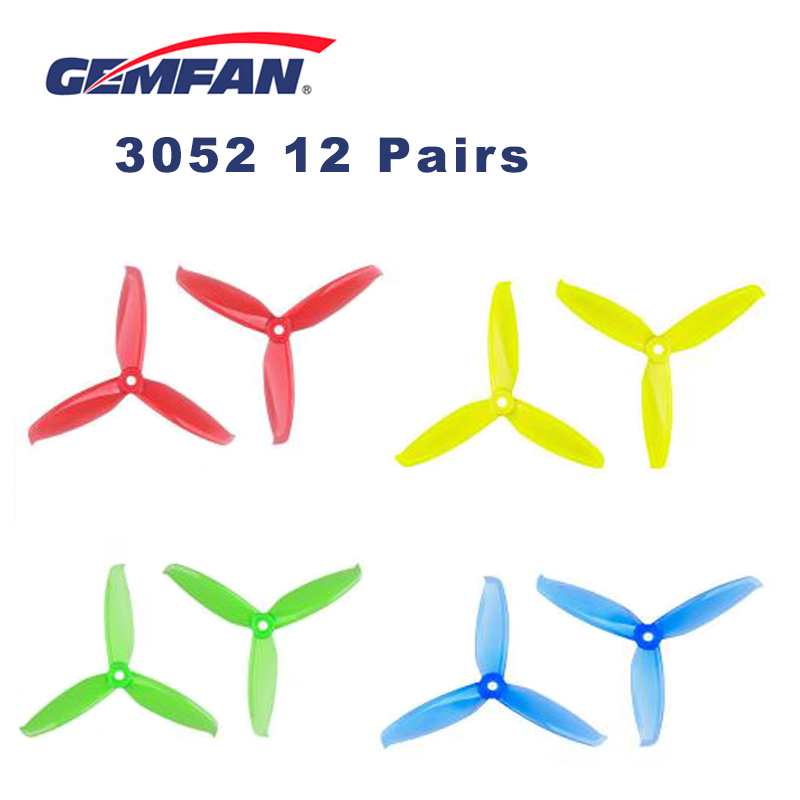 12 pairs Gemfan Flash <font><b>3052</b></font> 3.0x5.2 PC Propeller Prop 5mm Mounting Hole for 1306-1806 Motor RC FPV Drone Black Blue Red Pink image