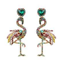 Разноцветные полимерные висячие серьги с фламинго и птицами для женщин, модные ювелирные изделия, модные массивные серьги-макси, аксессуар...