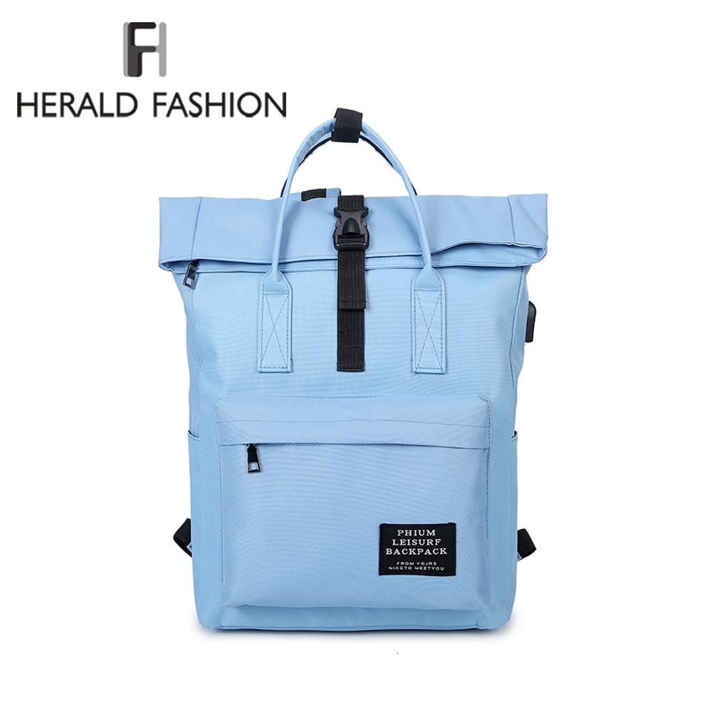 HERALD FASHION USB Backpack Women Fashion Backpack Korean Ladies Casual Travel Bags School Girls Classic Bagpack Laptop Bag 2019