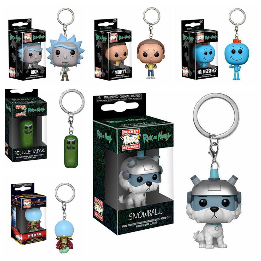 2019 New Rick And Morty Figures Toys Snowball Funny Rick Morty Pickle Rick Mysterio Dolls Keychain Keyring Action Figure Toy