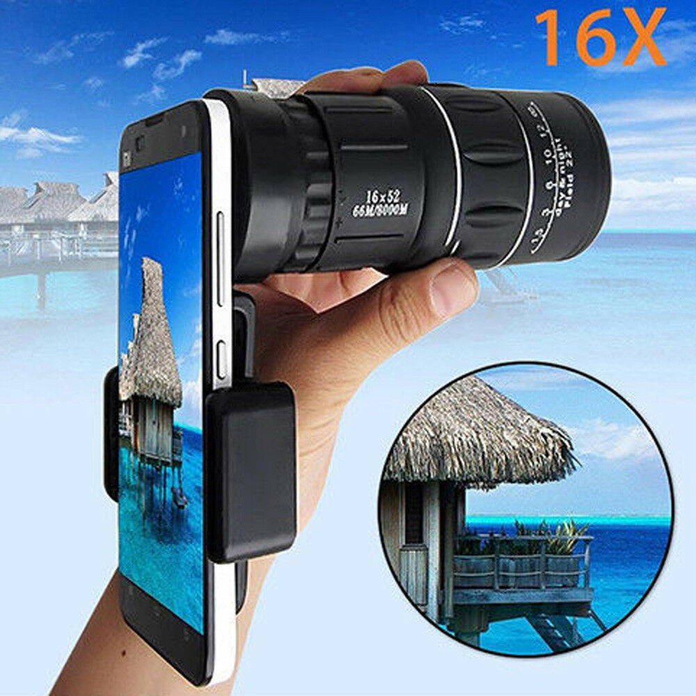 Waterproof High Definition Pocket Monocular 16x52 Focus Optic Lens Handheld Day Night Vision Travel Telescope Spotting