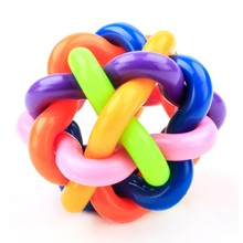 1 PC Dog Puppy Cat Pet Bell Sound Ball Rainbow Colorful Rubber  Toys Plastic Fun Playing Toy funny