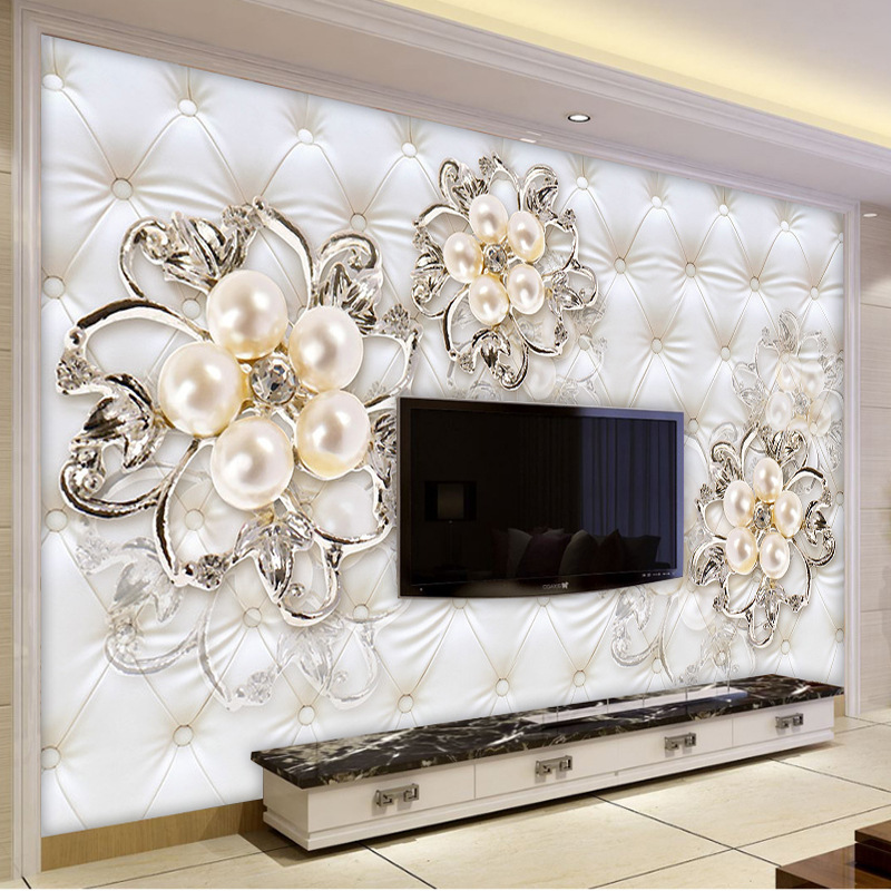 5D European Soft Roll Pearl TV Backdrop Wallpaper White Living Room Bedroom Bedside 8D Sofa Film And Television Wall