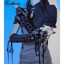 Rockmore Gothic Spitze Arm Hülse Frauen Punk Mesh Handschuhe Bandage Vintage Krawatten Up Half-Finger Stretch Handschuhe Kühlen Streetwear schwarz