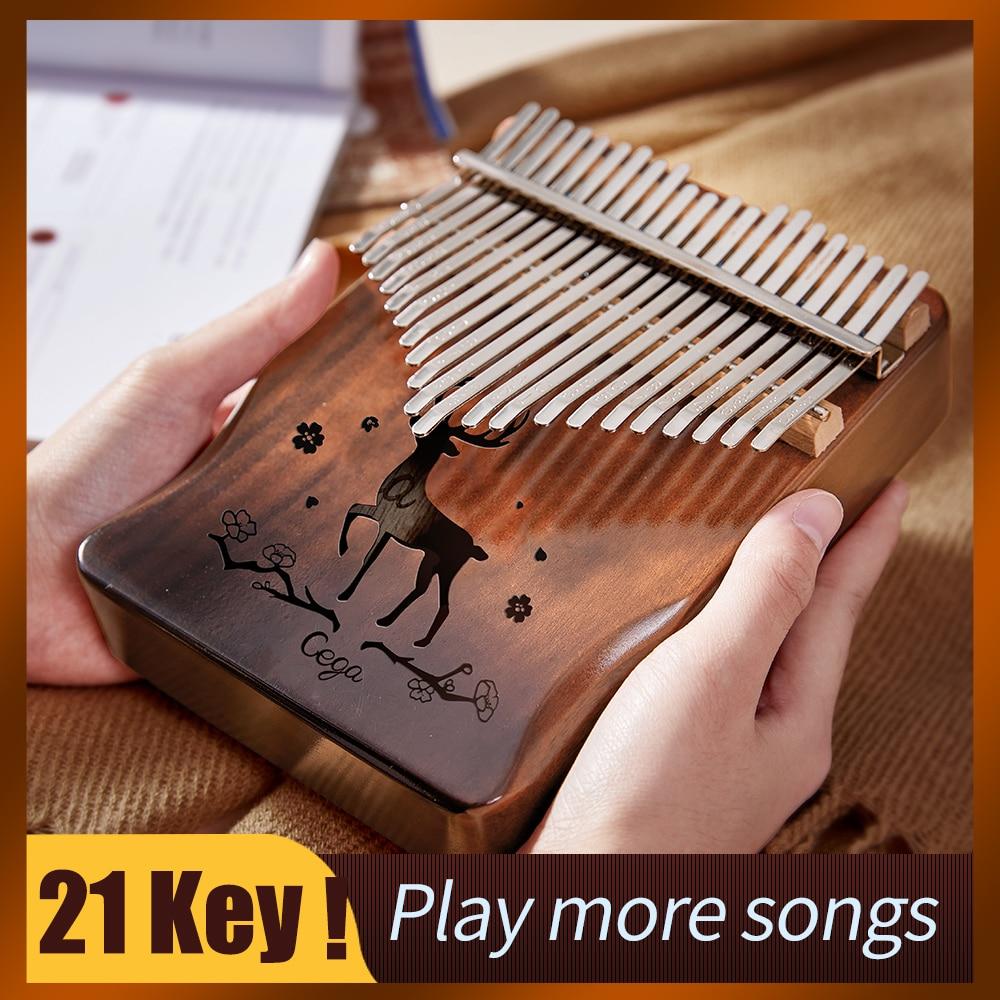 Высококачественный музыкальный инструмент kalimba, 21 ключ, музыкальный инструмент из акации с 17 клавишами, пальцами и большими пальцами, улучш...