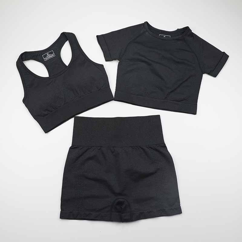 Seamless Yoga Set Women Gym Workout Clothes Sports Bra+Short Sleeve Fitness Crop Top+High Waist Legging Shorts 3Pcs Sports Suits