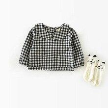 Детские блузки в Корейском стиле для маленьких девочек; сезон весна-осень; хлопковая От 0 до 2 лет; детская куртка; рубашка в клетку для девочек; блузки для новорожденных девочек