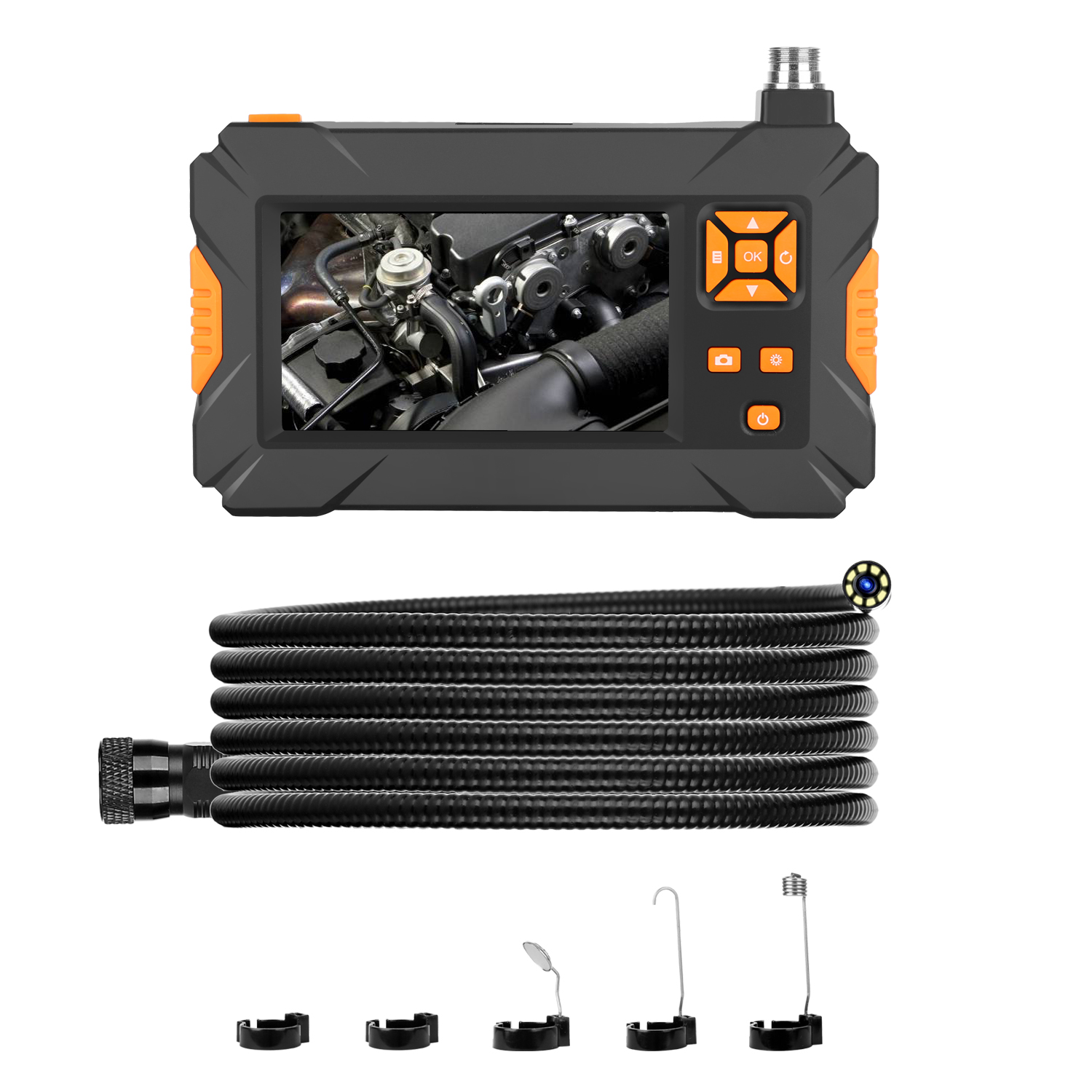 4.3-inch Color LCD HD Handheld Screen Endoscope 1080P P30 Orange Configurable Snake Tube Hard Wire Industrial Tube Endoscope