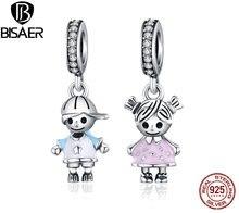 100% 925 Sterling Silber Netter Junge & Mädchen Anhänger Charme Fit Armband & Halskette Original 925 Silber Schmuck Geburtstag Geschenk