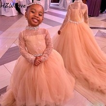 African High Neck Full Sleeves Flower Girls Dresses Long Sash Beads Crystals Girls Pageant Gowns Tulle Zipper Kids Birthday Dres 2017 glitz emerald green girls pageant dresses halter high neck tulle beaded crystals kids birthday prom gowns