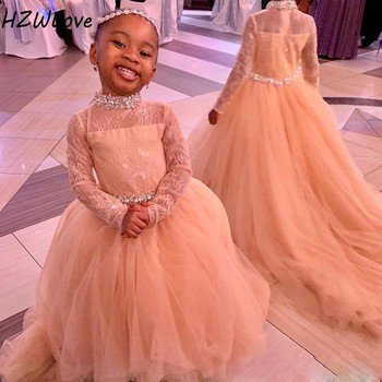 African High Neck Full Sleeves Flower Girls Dresses Long Sash Beads Crystals Girls Pageant Gowns Tulle Zipper Kids Birthday Dres white cheap flower girls dresses scoop neck girls pageant dresses organza beads kids party gowns 2019