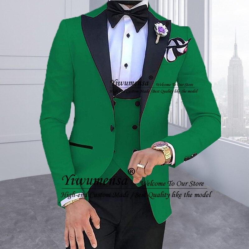 Мужские костюмы из 3 предметов для мужчин на заказ Terno Slim Fit для жениха на заказ Черная шаль с отворотом зеленый Свадебный мужской костюм Masculino - 3