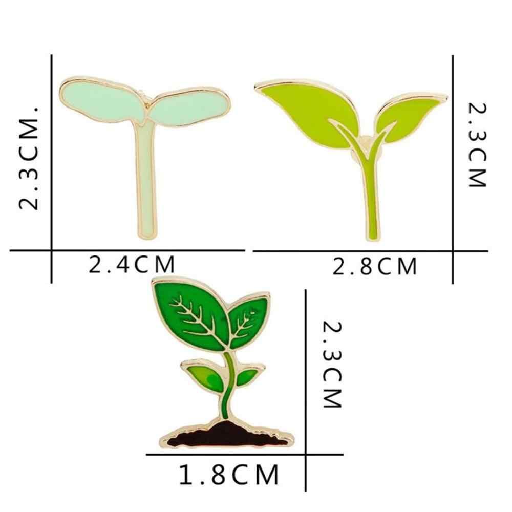 漫画おかしいエナメルアクセサリーバッジ緑色植物苗木かわいいツリーファッション豆ブローチピン葉女性ジュエリー