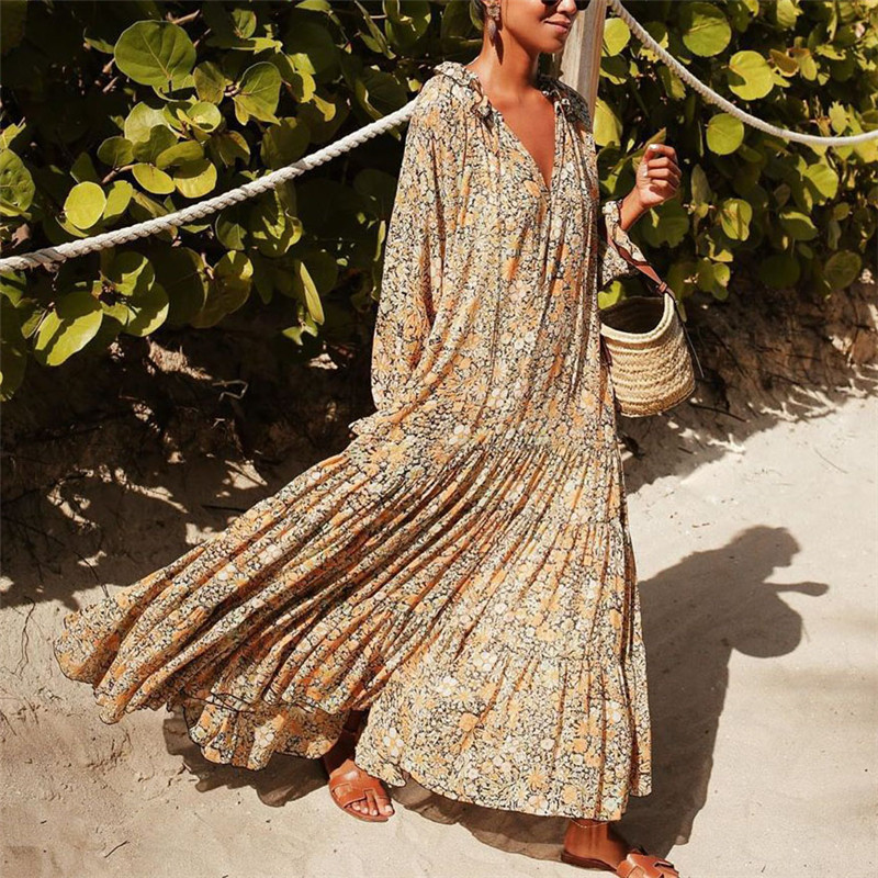 Vintage Print Maxi Dress Elegant 2020 Spring Long Sleeve Loose Boho Dress Ladies Fashion V-neck Plus Size Dresses Rode Vestdios