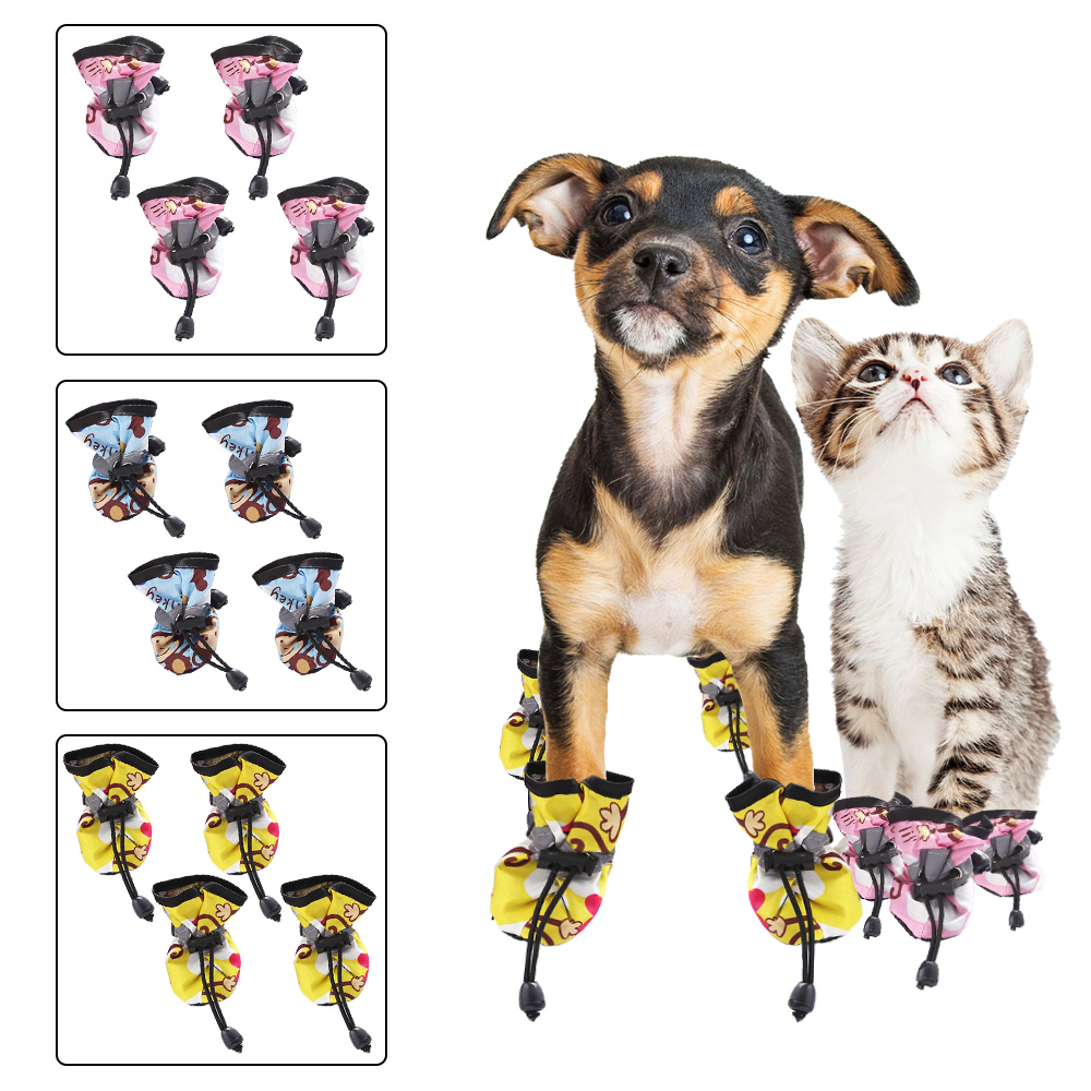 Pet Dog <font><b>Shoes</b></font> for Puppy Anti-Slip Pet <font><b>Shoes</b></font> for Dogs Cats Dog <font><b>Shoes</b></font> Socks for Small Dogs Chihuahua Dog boots Pet Supplies 4 PCs image