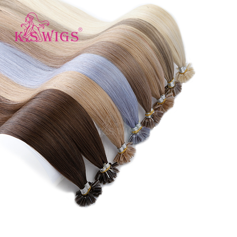 K.S WIGS 16'' 20'' 24'' 28'' 100% Remy Nail U Tip Hair Extension Keratin Capsule Pre Bonded Double Drawn Straight Fusion Hair