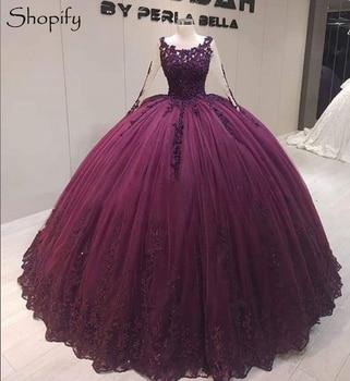 Charms Puffy Ball Gown Sweet 16 princesa mexicana compromiso púrpura con cuentas encaje africano vestidos de Quinceañera de estilo Cenicienta 2020