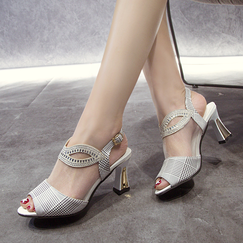Lucyever 2020 Summer Mesh Peep Toe Sandals Sexy Ladies High Heels Women Shoes Fashion Crystal Buckle Strap Dress Sandals Pumps