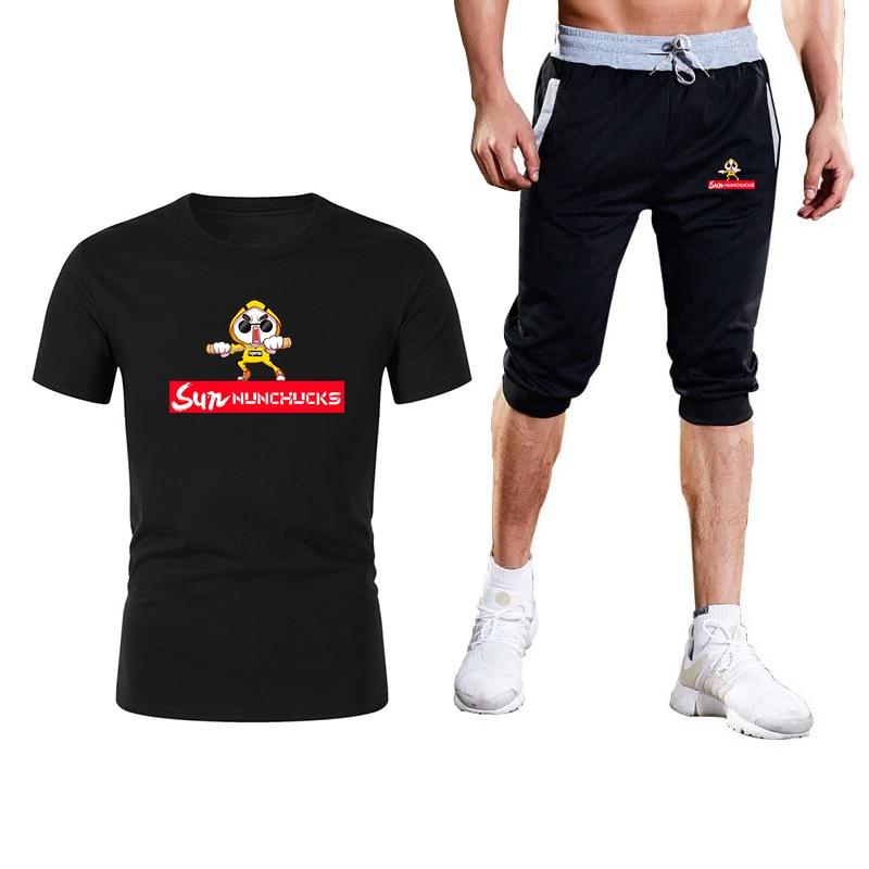 2020 fashion cartoon logo T-shirt hip-hop men's T-shirt shorts 2-piece set men's T-shirt sports suit men's casual wear suit